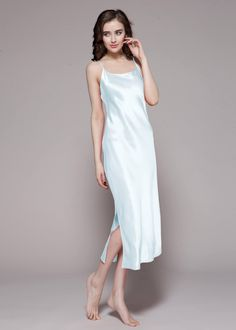 This soft and smooth silk nightgown will leave you feeling pretty. it is made of 22 momme mulberry silk with custom plus size, soft and comfortable. Couple Pajamas, Silk Nightgown, Pajama Outfits, Matching Pajamas, Cool Fabric, Mulberry Silk, Satin Dresses, London Fashion, Nightwear