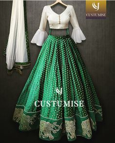 )nline Shopping of White and green Croptop lehenga Choli From Mongoosekart, Huge Collection of Latest Lehenga Designs Available here Bollywood Lehenga, Indian Lehenga, Green Lehenga, Bollywood Fashion, Designer Party Wear Dresses, Indian Designer Outfits, Indian Outfits Modern, Choli Dress, Ghagra Choli