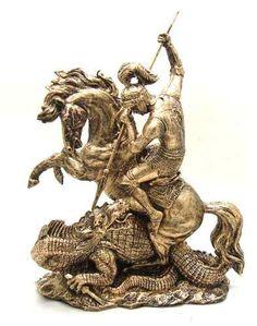 Estatueta São Jorge Com Dragão Santo Guerreiro Resina - R$ 159,99 Mais