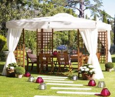 The canopy gazebo is the best choice for your garden or backyard deck for enjoying beautiful atmosphere. The choice of Canopy design depends on the style and… Gazebo On Deck, Gazebo Roof, Wedding Pergola, Gazebo Canopy, Garden Canopy, Garden Gazebo, Pergola Attached To House, Canopy Outdoor, Diy Pergola