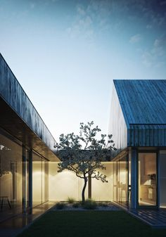 adapting an archetypal rural form, the 'barn house' by polish firm mimo studio consists of two pitched roof volumes that are set perpendicular to one another. Roof Architecture, Residential Architecture, Patio Interior, Interior And Exterior, Interior Design, Modern Barn House, Contemporary Barn, Internal Courtyard, 3d Architectural Visualization