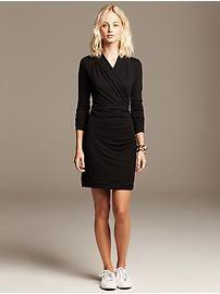 Black Knit Faux-Wrap Dress  | Banana Republic | Eastwood Towne Center - Lansing, MI #ShopEastwood