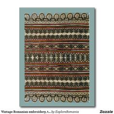 Vintage Romanian embroidery, traditional design Postcard