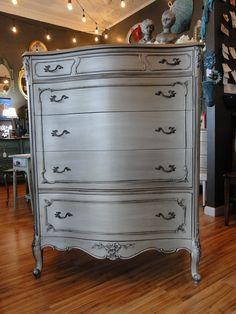 Tarnished Silver French Provincial Dresser at Modern Vintage