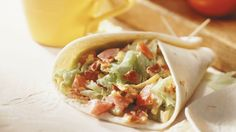 Here's one easy-to-eat BLT.  It's all wrapped up in a flour tortilla.