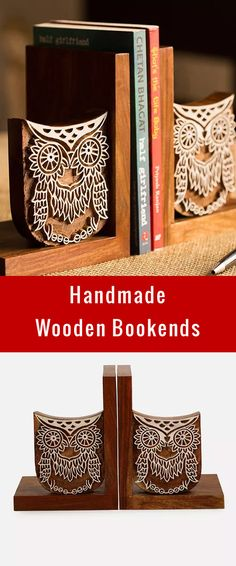 Buy Brown Handcrafted Sheesham Wood Bookend with Owl Design (L:10.9in, W: 4.8in, H: 7in) Online at Jaypore.com · Wood BookendsHousewarming GiftsHandmade ...