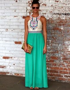 5 Cute Cheap Maxi Dresses Under $30: Pretty aztec inspired cheap maxi summer dress with cut out top and green skirt by Dearcase. Cute maxi for a wedding guest or a date night. (Shop style HERE)
