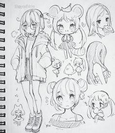Art Drawings Sketches Simple, Cute Drawings, Chibi Girl Drawings, Art Inspiration Drawing, Cartoon Art Styles, Anime Drawing Styles, Art Sketchbook, Cute Art, Character Art