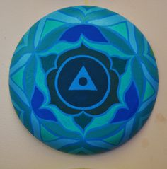 """Throat Chakra"" Acrylic paint on round canvas  Express your truth."