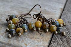 Rustic blue gold agate earrings / Earthy by JeSoulStudio on Etsy