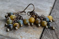 Rustic blue gold agate earrings / Earthy pietersite agate / Vintage inspired / Aged brass / Traditional earrings / Beaded chain / Gypsy boho