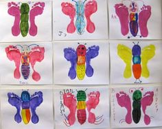 Children butterfly bulletin board from footprints
