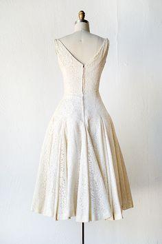 vintage 1950s cream lace tea length wedding dress
