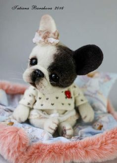 """Francie By Tatiana Barakova - French Bulldog puppy, """"Francie""""Her birthday is November 22, 2016. Size 4.7 """"(12 cm) sitting without ears. The body is sewn from German plush. Inside the body thereis wool and glass granulate to give a nice weight.Herhead and paws are needle felted.<b..."""