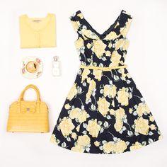 Oh Me Oh My Dress   Navy And Multi   Dress Oh Me Oh My Dress   Navy And Multi   Dress  Maggie 3/4 Sleeve Cardi   Lemon White   Cardi