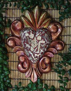Copper & Gold Color Carved Heart Milagros, Folk Art Michoacán, Mexico LOVE TOKEN