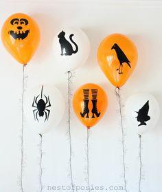 DIY Halloween Silhouette Balloons.