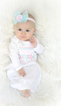 Baby Shower Gift Personalized Girl Coming Home Outfit infant Gift Infant Girl Clothes Newborn Girl Gown Take Home Outfit Monogram Baby Girl Girls Coming Home Outfit, Take Home Outfit, Baby Monogram, Baby Gown, Baby Girl Newborn, Baby Girls, Baby Shower Gifts, Cute Babies, Girl Outfits