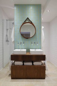 Aqua and yellow add subtle color to the stylish bathroom [Design: Oliver Burns] Vintage Industrial Decor, Industrial Bathroom, Bathroom Interior, Interior Paint, Industrial Loft, Interior Ideas, Bad Inspiration, Bathroom Inspiration, Rustic Bathrooms