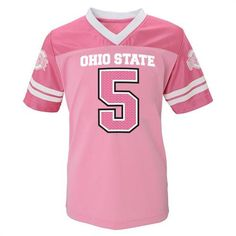 Dress up your little fan for game day in this pink Ohio State infant jersey. Cut for a girl, this adorable jersey features the Ohio State logo and comes in sizes Ohio State Baby, Ohio State Logo, Pink Football, Football Jerseys, Baby & Toddler Clothing, Toddler Outfits, Buckeyes, Infant, Dress Up