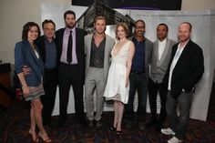 Amy Acker, Joss Whedon, Brian White, Bradley Whitford, Jesse Williams, Chris Hemsworth, Drew Goddard and Kristen Connolly at event of The Cabin in the Woods (2012)