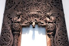 Stave church portal - exhibited at Historisk Museum Oslo Norway