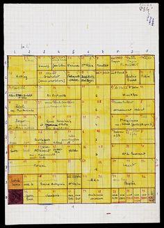 Georges Perec,  La Vie mode d'emploi   Plan de l'immeuble 30 x 21 cm BNF, Arsenal, dépôt G. Perec, 110, 1, d   Le diagramme est superposable au plan en coupe de l'immeuble où va se dérouler le roman (une case = une pièce). Pour régler l'ordre de description des pièces, Perec s'inspire d'un problème d'échecs : faire parcourir tout l'échiquier à un cavalier en s'arrêtant une seule fois par case. Mais par où commencer ? Le point de départ ne peut être le fruit du hasard. Dans le dossier…