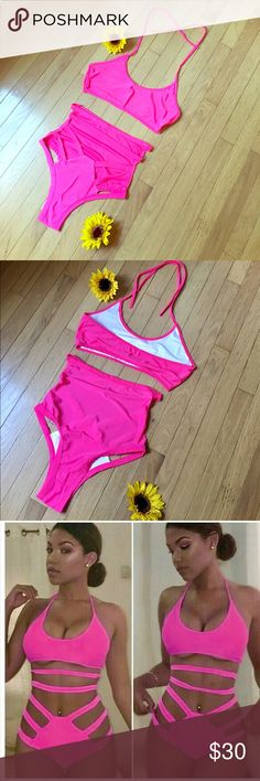 Sexy High-Waisted Hot Pink Bikini 👙 Brand New! Perfect for upcoming summer! Bright hot pink. Flexible material!  This is not a Victoria's Secret piece. Using the category for exposure only! Thank you for looking 🌹❤️ Victoria's Secret Swim Bikinis
