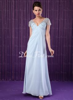 A-Line/Princess V-neck Floor-Length Chiffon Tulle Mother of the Bride Dresses With Ruffle Beading (008018728) - DressFirst en