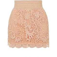 TOPSHOP Crochet Mini Skirt (280 UAH) ❤ liked on Polyvore featuring skirts, mini skirts, bottoms, saias, peach, short cotton skirts, cotton mini skirt, pastel skirt, elastic waist skirt and red skirt