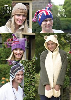 Knitted Novelty Hat including anaimals and the flag & A Knitted Onezie  - King Cole