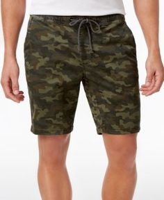 American Rag Men's Classic-Fit Stretch Camo Twill Drawstring Shorts, Only at Macy's  - Green 2XL
