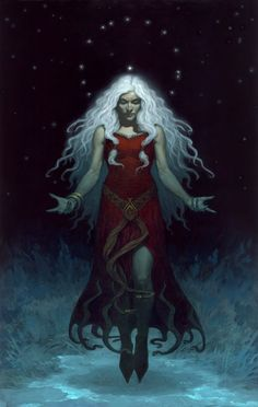 "Perchta or Berchta was once known as a goddess in Southern Germanic paganism in the Alpine countries. Her name means ""the bright one"". Perchta was at first a benevolent spirit. In Germanic paganism, Perchta had the rank of a minor deity. That changed to an enchanted creature (spirit or elf) in Old High German - such as Grimm describes - but she was given a more malevolent character (sorceress or witch) in later ages. Gerald Brom's New Dark Fantasy Art"