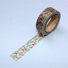 Washi Tape pájaros y hojas rojo y verde