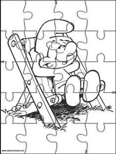Printable jigsaw puzzles to cut out for kids Smurfs 20 Coloring Pages