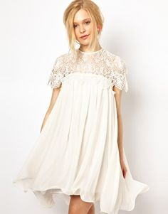 Lydia Bright Swing Dress with Lace Top.after. before. party. wedding. low cost short bride dress