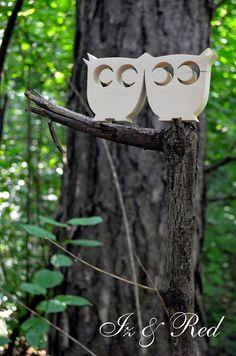 Old Tools And Woodworking - litery i napisy z drewna, wsporniki, półki z drewna: Sowy w lesie