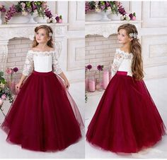 Burgundy Flower Girls Dresses For Weddings 2018 Off Shoulder Long Sleeves Puffy Tulle Girls Party Pageant Dress Kids Bridesmaid Dresses Lace Flower Girl Dress From Cinderelladress, &Price; Tulle Flower Girl, Wedding Flower Girl Dresses, Flower Girl Dresses Burgundy, Dress Wedding, Wedding Flowers, Half Sleeve Dresses, Lace Dress With Sleeves, Little Girl Dresses, Girls Dresses