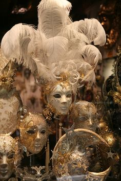 Large Gold and White Mask with Feathers | Masquerade Masks