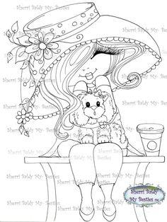 "NEW ""Fluffy Besties TM""INSTANT DOWMLOAD Digital Digi Stamps Big Eye Big Head Dolls Digi Img051 New Fluffy Besties TM By Sherri Baldy - My Besties Shop"