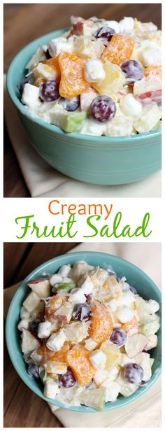 Creamy Fruit Salad served in a Turquoise Fiesta® dinnerware Bowl. the salad is made with all of my favorite fruits, Greek Yogurt, marshmallows and coconut! This Salad is to DIE for! Perfect for Thanksgiving! Creamy Fruit Salads, Fruit Salad Recipes, Dessert Salads, Yogurt Fruit Salad, Healthy Snacks, Healthy Eating, Healthy Recipes, Healthy Fruits, Thanksgiving Recipes