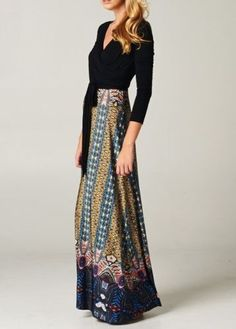 IT'S A WRAP Black/Blue Mediterranean Floor-length Maxi Dress CHELSEA VERDE S-M-L | eBay