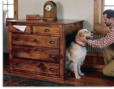 Many people want to provide their doggy with a nice house - but dont want it to be too visibile. These cool dog houses that are built into cabinets are the perfect solution!