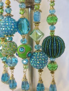 set of 4. Green Sequin and Acrylic Chandelier beaded Christmas Yule Ornaments