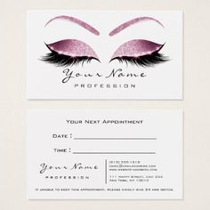 Makeup Artist Lashes White Pink Appointment Card - stylist business cards cyo personalize businesscard diy