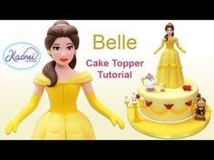 (493) Beauty and the Beast (Cake Toppers): Belle / Cómo hacer a Bella en pasta de goma - YouTube