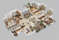 House Plans with attached Apartment House Plans 2 Story, 3d House Plans, Small Modern House Plans, Modern Houses, 5 Bedroom House Plans, Apartment Floor Plans, Tiny House Cabin, Home Design Plans, Modern Bedroom