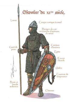 Estupenda representación de un caballero normando del siglo XI. Así aparecen representados en el Tapiz de Bayeux.