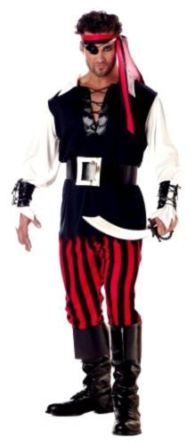 New-California-Costumes-Mens-Adult-Cutthroat-Pirate-Black-Red-White-M-40-42