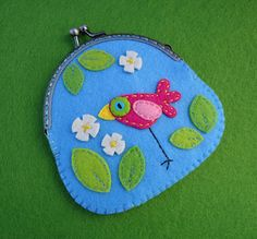 Meia Lua embroidery applique felt bird flowers leaves purse